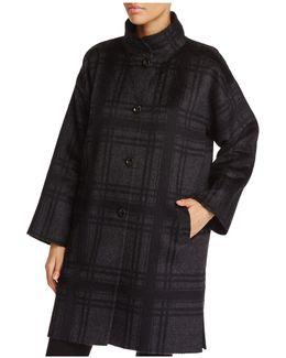 Plaid Stand Collar Coat