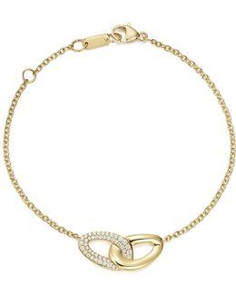 18k Yellow Gold Cherish Interlaced Diamond Link Bracelet