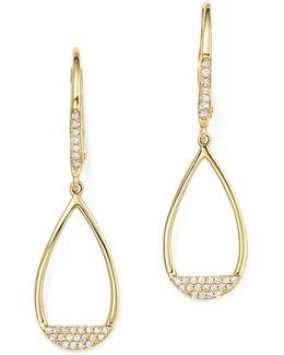 14k Yellow Gold Diamond Open Teardrop Earrings