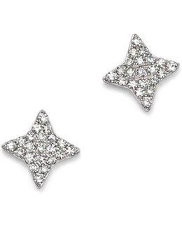 14k White Gold Small Starburst Diamond Stud Earrings