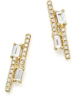 14k Yellow Gold Diamond Mosaic Double Row Stud Earrings