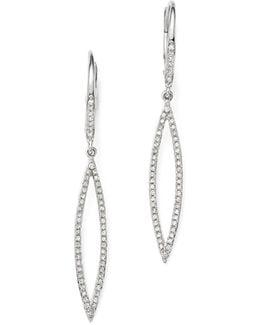 14k White Gold Open Geometric Pod Diamond Dangle Earrings