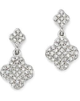 14k White Gold Diamond Clover Drop Earrings