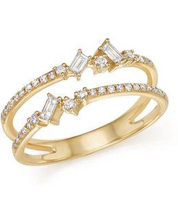 14k Yellow Gold Mosaic Diamond Double Bar Ring