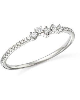 14k White Gold Mosaic Diamond Stacking Ring