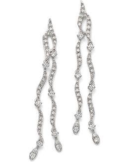 14k White Gold Diamond Double Strand Wave Earrings