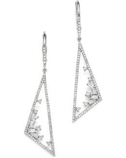 14k White Gold Diamond Mosaic Geometric Statement Earrings