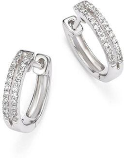 14k White Gold Diamond Double Row Huggie Hoop Earrings