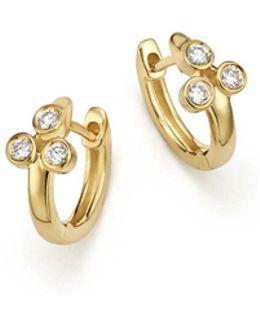14k Yellow Gold Lulu Jack Diamond Bezel Trio Huggie Earrings