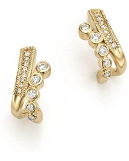 14k Yellow Gold Lulu Jack Diamond Bezel Huggie Earrings