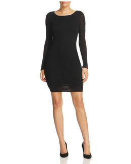 Shirred Slub Knit Dress
