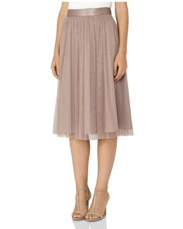 Crystal Pleated Tulle Midi Skirt