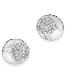 Sterling Silver Onda Pavé Diamond Stud Earrings