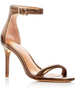 Women's Ester Leather Ankle Strap High Heel Sandals