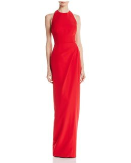 Back-cutout Ruched Gown
