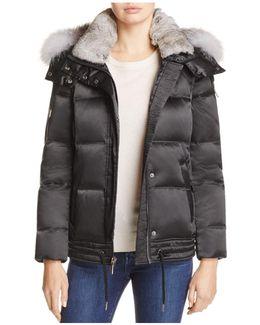 Lillie Rabbit & Fox Fur Trim Down Coat