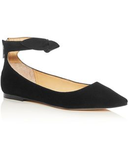 Tramory Suede Ankle Strap Pointed Toe Flats