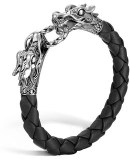"""naga"" Black Woven Leather Dragon Bracelet"