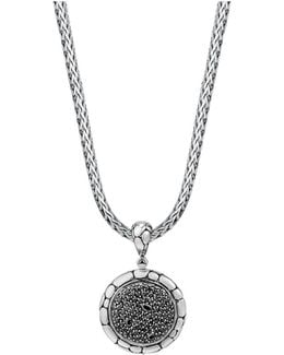 Sterling Silver Kali Lavafire Medium Round Enhancer With Black Sapphires