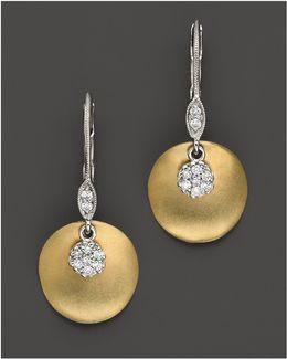 14 Kt. Yellow Gold/diamond Drop Earrings