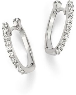 18k White Gold Small Diamond Hoop Earrings