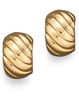 18k Yellow Gold Ribbed Earrings