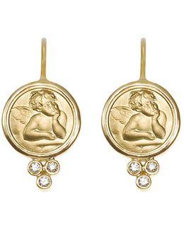 18k Yellow Gold Angel Earrings With Diamonds