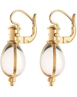 18k Yellow Gold Oval Crystal Amulet Earrings