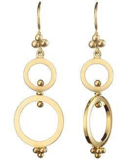 18k Yellow Gold Double Ring Earrings