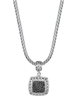 Sterling Silver Classic Chain Medium Square Pendant With Black Sapphire