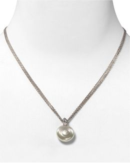 Coin Simulated Pearl Pendant Necklace