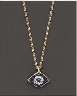Sapphire And 14k Yellow Gold Evil Eye Pendant Necklace