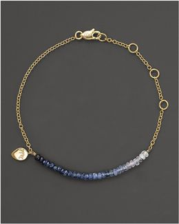 Blue Sapphire And 14k Yellow Gold Bracelet