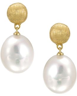 """africa Pearl Collection"" 18k Yellow Gold And Pearl Drop Earrings"