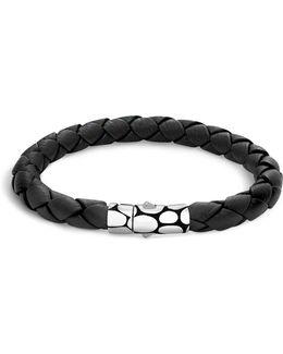 Men's Kali Silver Black Woven Leather Bracelet