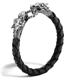 Men's Naga Silver Black Woven Leather Dragon Bracelet