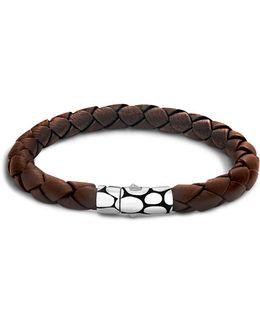 Men's Kali Silver Brown Woven Leather Bracelet