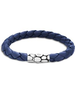 Men's Kali Silver Blue Woven Leather Bracelet