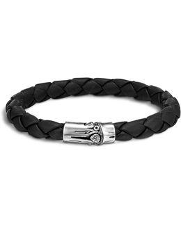 Men's Bamboo Silver Black Woven Leather Bracelet