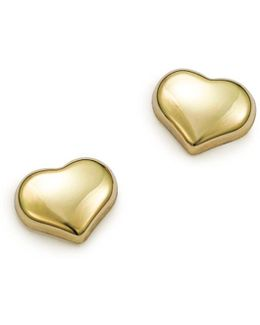 18k Small Yellow Gold Heart Earrings