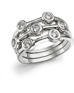 18k White Gold Diamond Bezel Ring