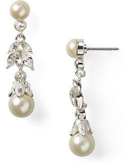 Linear Pearl Teardrop Earrings