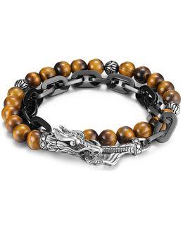 Men's Naga Double Wrap Link Bracelet With Tiger's Eye