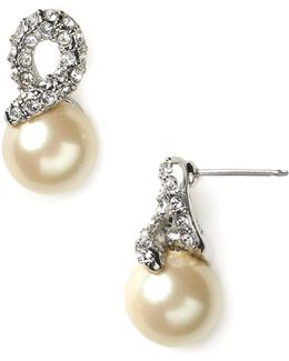 Elegant Bride Pearl And Pave Earrings