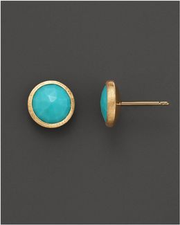 18k Yellow Gold And Turquoise Earrings