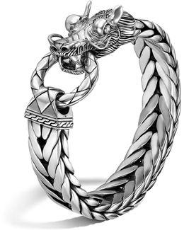 Men's Naga Silver Dragon Head Bracelet On Fishtail Chain