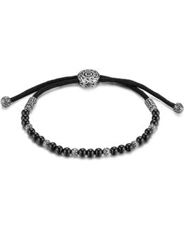 Men's Sterling Silver Classic Chain Beaded Bracelet With Black Onyx
