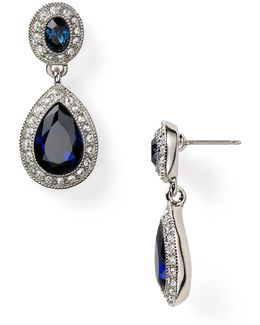 Pave Stone Double Drop Earrings
