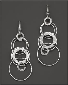 Sterling Silver Hammered Jet Set Earrings