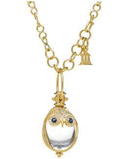 18k Owl Pendant With Blue Sapphire & Diamond Pavé